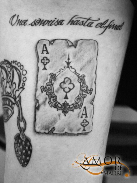 Carta-card-as-trebol-una-sonrisa-hasta-el-final-frase-phrase-tattoo-tatuaje-amor-de-madre-zamora