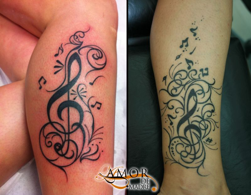 musica-music-clave-sol-tatuaje-tattoo-pierna-leg-notas-musicales-treble-clef-musical-notes-amor-de-m