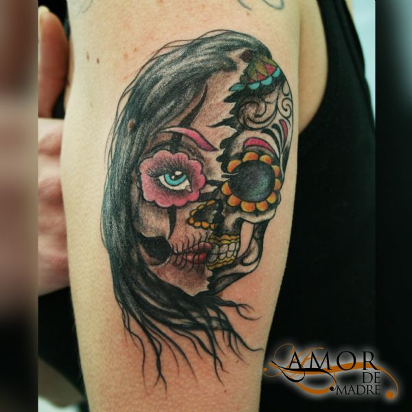 Cara-face-calavera-muerte-death-catrina-colortattoo-color-tattoo-tatuaje-amor-de-madre-zamora